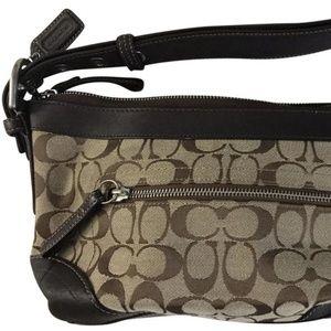 Coach Black/Tan Fabric Shoulder Bag